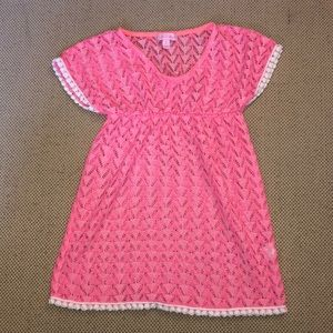Lilly Pulitzer girl's Pink crocheted swim cover-up